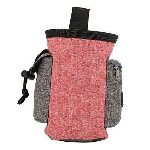 Leckerli-Tasche für Hunde, mehrere Taschen, zur Aufbewahrung von Lebensmitteln, Snacks, Hüfttasche, Gehorsamkeitstraining, multifunktional, tragbar, Rot