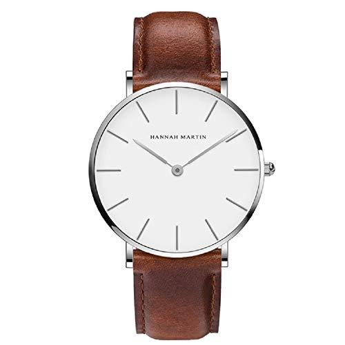 Hombre Relojes, L'ananas Estilo Minimalista Anolog Negocio Cuarzo Cuero de PU Parejas Amantes Relojes de Pulsera con Caja de Regalo Wristwatches (Marrón+Plata)