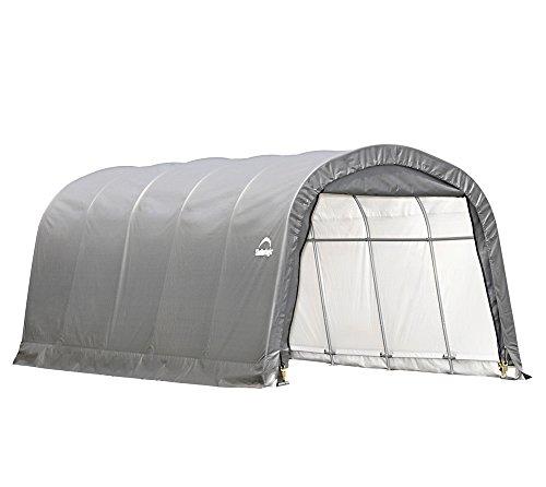 ShelterLogic Round Frame Foliengerätehaus Garage-in-a-Box 22,57m² grün // 370 x 610 x 240 cm (BxTxH); Foliengarage, Garage und Folienzelt