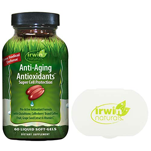 Irwin Naturals Anti Aging Antioxidants Super Cell Protection - 60 Soft-Gels - Bundle with a Pill Case