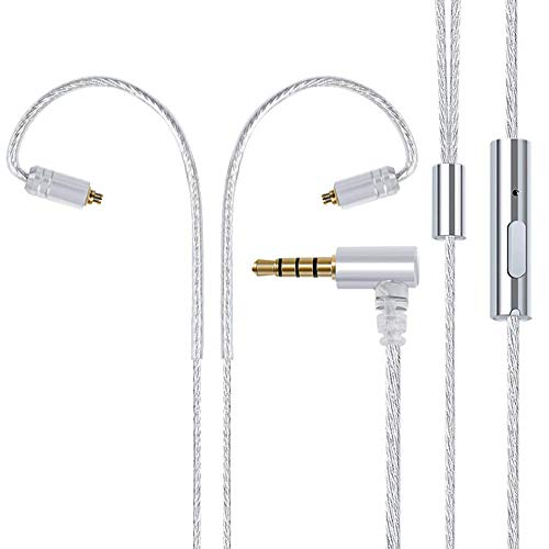 MMCX Cable Silver Plated Copper Upgrade Earphones Cable with micphones,TENHZ MMCX Replacement Headphones Cable with 3.5mm Plug for Shure 215 SE846 Tin P4PRO DT3 T5(MMCX Connector)(White)