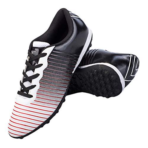 Holibanna Scarpe da Calcio Scarpe da Calcio Antiscivolo Scarpe da Allenamento Sportive Professionali (Nero Bianco - Taglia 33)