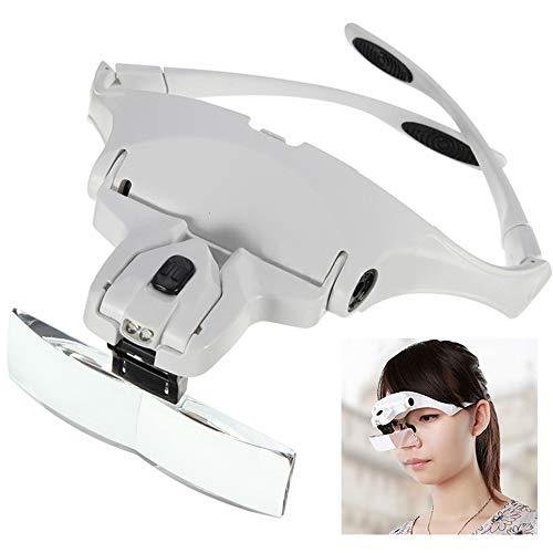 JUEYAN LED Kopflupe Stirnlupe Brillenlupe Lupenbrille (Weiß)
