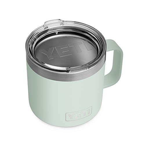 YETI Rambler 14 oz Mug, Stainless Steel, Vacuum Insulated with Standard Lid, Sagebrush Green