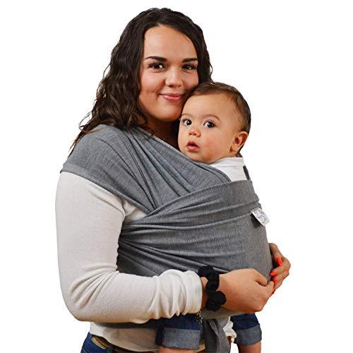 Yukefeng Portador de Bebé Portabebé Natural Fular Portabebés Elástico para Infántil Pañuelo Fresco y Suave de Algodón Portador del Abrigo del Bebé para Recién Nacidos y Niños Pequeños - Gris