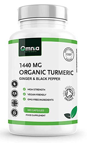 Organic Turmeric 1440mg with Ginger and Black Pepper, High Strength Turmeric Supplements, 180 Vegan Capsules , 3 Months Supply, Made in The UK by Omnia NUTRIENTS