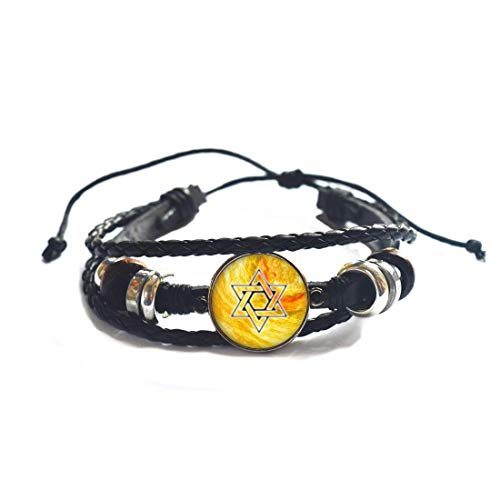 Brazalete de estrella con geometría de miedo para yoga, joyería judía para él, brazalete de estrella de David, brazalete espiritual, brazalete de estrella de plata # 328