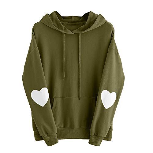 Sweat-Shirt Pull Femme,Covermason Mode Femmes Sweat à Capuche Manches Longues à Capuche Amour Imprimé Tops Blouse (armée Verte, L)