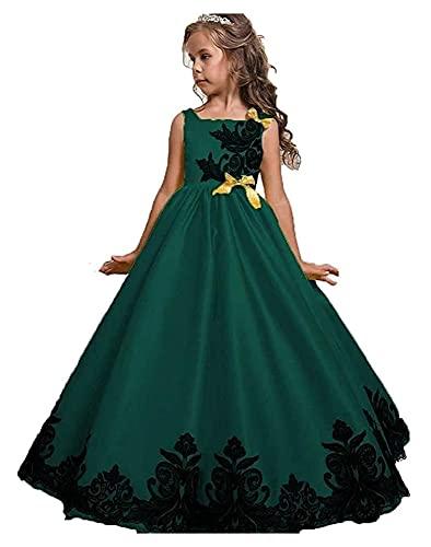 Vestidos de fiesta de niñas Aplique Bordado Vestido maxi formal para la primera comunión Flower Flower Girls Dama de honor Cumpleaños Tardes de danza del baile bautismo Bautismo Vestido de bolas 3-14