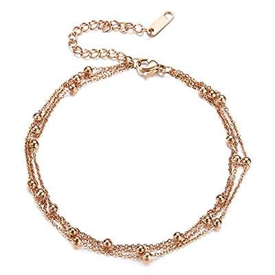 Fesciory Women Stainless Steel Anklet Rose Gold...