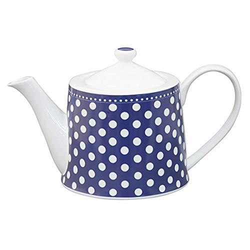 Krasilnikoff - Teekanne - blau mit weißen Punkten - 1 l