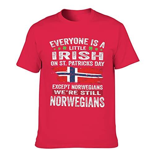 Camiseta de manga corta para hombre, diseño con texto en alemán 'Jeder ist ein wenig Irish excepto Noruegian' Red1 S