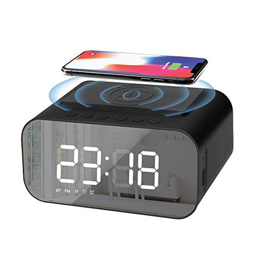 LINGSFIRE Despertador digital con radio para mesilla de noche con carga inalámbrica Qi y puerto USB, altavoz Bluetooth, pantalla LED sin tictac, red con batería de reserva