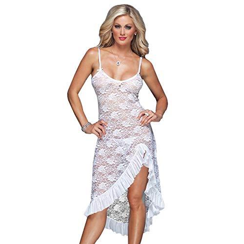 Conjuntos De Lencería para Mujer S-6X Pijama Sexy De Talla Grande para Mujer Camisón Largo Babydoll De Encaje-Blanco_SG