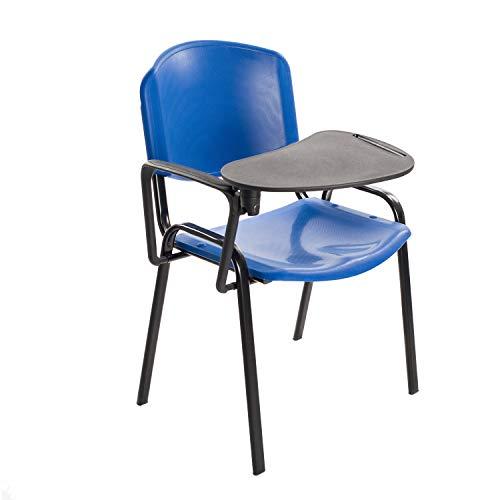 Notek Srl Stock di 6 Sedie Impilabili in Plastica Dura con Ribaltina scrittoio per Sala Conferenze e Aula Formazione