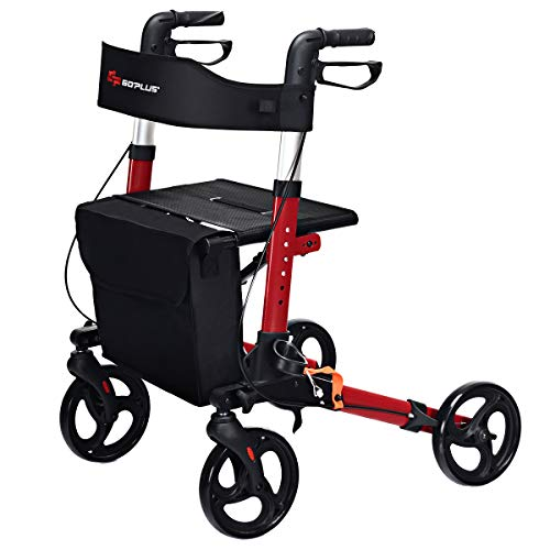 COSTWAY Lightweight Folding Rollator Walker with Seat, Dual Safety Brake,...