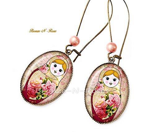 Ohrringe Matroschka Russische Puppen Cabochon Rosa Slawische Bronze
