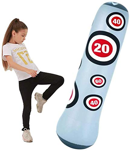 DIMPLEYA Inflatable Free Standing Punching Bag, Punch Sandbag for Kids, Air with Foot Pump, Adult/Kids Best Boxing Equipment for Training