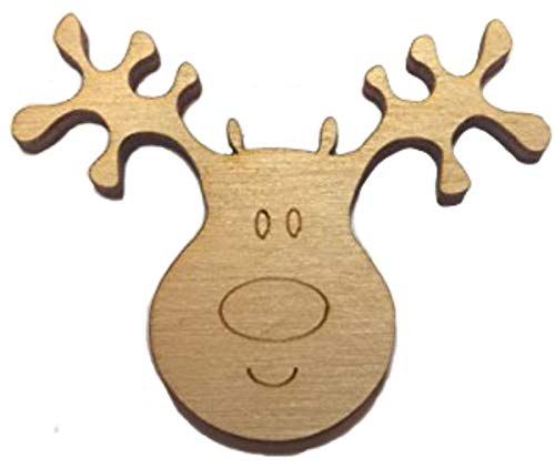Pack of 10 Wooden Reindeer Heads Christmas Craft Shape Decorations