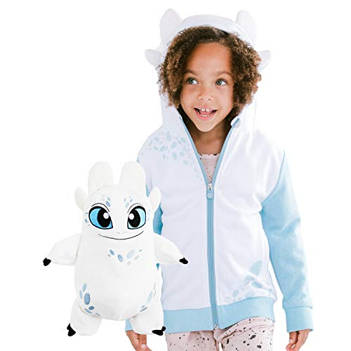 Cubcoats Light Fury Dragon - 2-in-1 Transforming Hoodie and Soft Plushie - How to Train Your Dragon - Glow in The Dark White