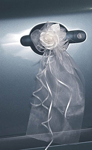 Autoschmuck Autotürschmuck Blütenschmuck Hochzeit Blüten creme, Schleife weiss 2Stk.