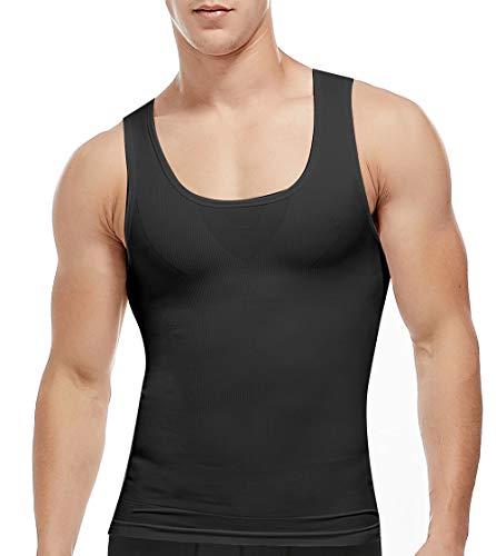 SLIMBELLE Herren Bauchweg Shirt Shapewear Figurformende Unterhemd Body Shaper Kompression Tank Top Slimming Weste Miederbody Unterwäsche für Männer in weiß o. schwarz