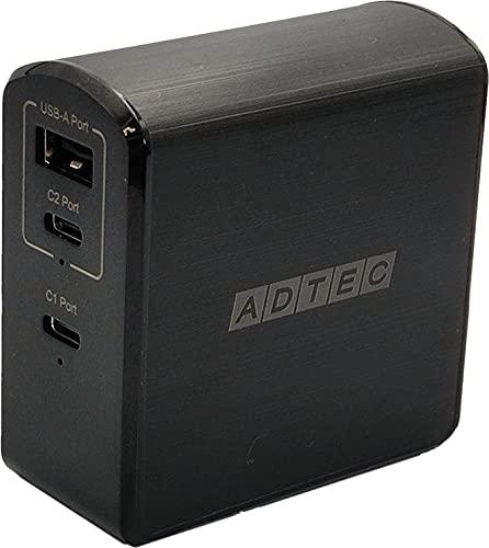 アドテック PD充電器 105W 3ポート【USB-Cx2+USB-A】【PSE対応/Power Delivery対応/GaN (窒化ガリウム) 対応】iPhone 12 Pro Max/Mini /11/10/XR/8/MacBook/iPad Pro/Nintendo Switch他/ブラックモデル/APD-A105AC2-BK