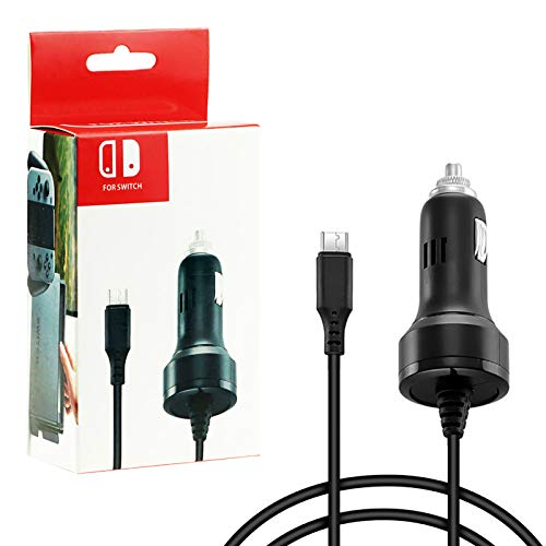 Zeato High Speed Car Charger Adapter for Nintendo Switch and Switch Lite with Charging Cable - Black