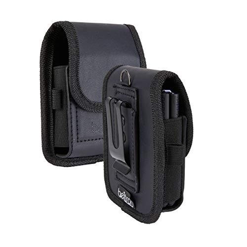 BELTRON Leather Pouch for Motorola RAZR (2019), Motorola RAZR 5G, Galaxy Z Flip (F700), Galaxy Z Flip 5G (F707), Galaxy Z Flip 3 (F711) with Heavy Duty Belt Loop, Metal Belt Clip & Dual Magnet Closure