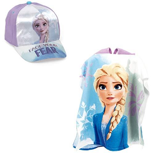 Kunsthandwerk und Design Textil, S.A. Poncho Frozen Badetuch für Strand oder Pool + Mütze Disney Frozen Elsa für Mädchen