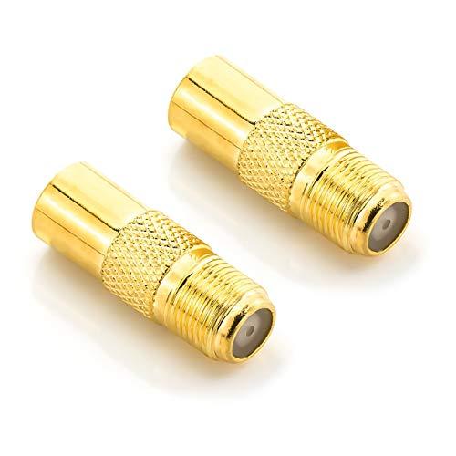 deleyCON SAT Antennenadapter Koaxialkabel auf TV Stecker Adapter - F-Buchse auf IEC-Stecker Kupplung Verbinder Koaxial Kabel 2 Stück Vergoldet