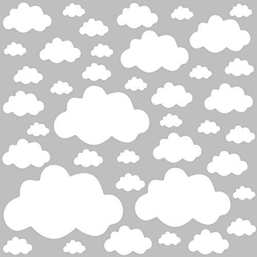 PREMYO 40 Nubes Pegatinas Pared Infantil - Vinilos Decorativos Habitación Bebé Niños - Fácil de Poner Blanco