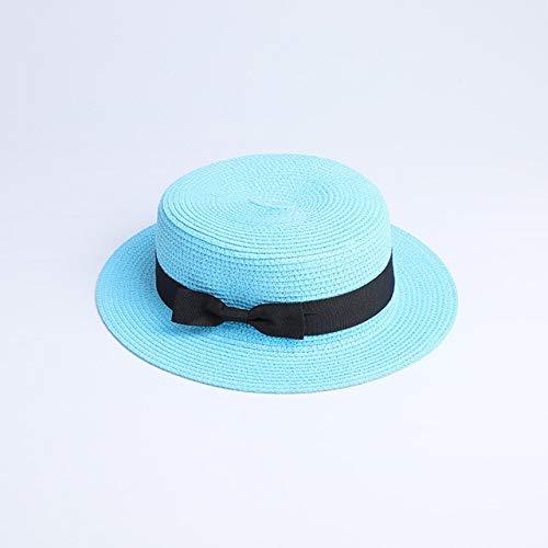 Sombrero de Paja Plano para el Sol para Padres e Hijos, Sombrero de canotero, Sombreros de Verano para niñas, para Mujeres, Sombrero de Paja Plano para niños y Playa-a2-Adult 56-58cm