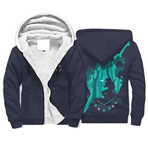 XHJQ88 Heren Rits Winter Fleece Sweatshirts met gevoerde tiener Student Gree Zwaard Zelda Gedrukt Mode - Game Lover Trekkoord Hoed Losse Sport Blouse voor Halloween Presents