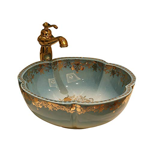 Natur Marmor Stein Waschbecken Keramik Waschbecken ,Art Basin Keramik-Waschbecken Badezimmer-Waschbecken, 41x15 Cm (ohne Den Hahn)