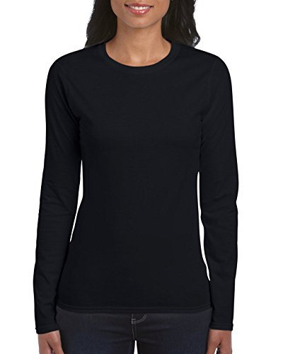 Gildan Women's Softstyle Long Sleeve T-Shirt, 2-Pack, Black, Medium