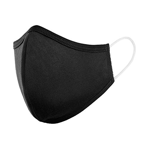 StringKing Cloth Face Mask Reusable - Protection for Kids and Adults - USA-Made Washable, Breathable Cotton Fabric, Elastic Ear Loops - Non-Disposable Masks (1 Pack - Adult - Black)