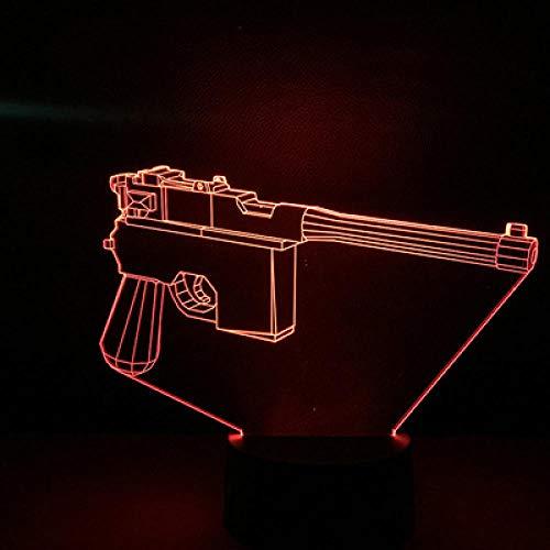 3D Nachtlicht 7 Farben LED Illusion Lampe Mauser Pistole R2lex Optischer Nachttisch Touch Control USB Kabel Dekoration Kinder Lampe