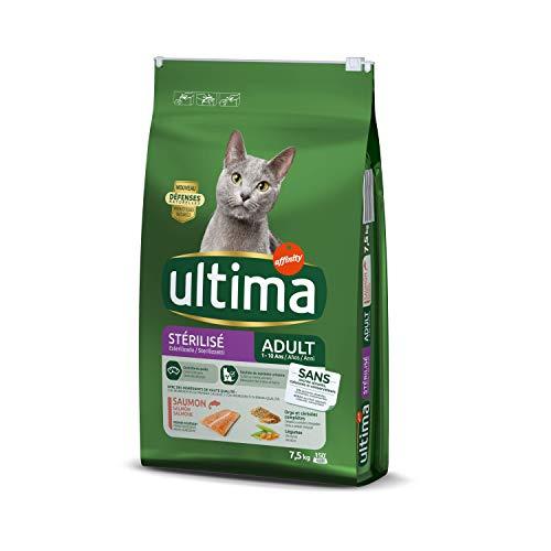 pas cher un bon Nourriture sèche pour chats Ultima stérilisée au saumon, 7,5 kg