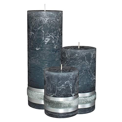 Badidi  Dark Grey Candles  Large Pillar Set of 3  Home Room Christmas Decoration  Table Display  Unscented  Different Sizes  Long and Slow Burn Time 200 hours +  Made in EU