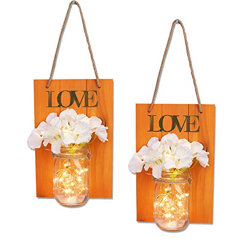 JUNNUO Set of 2 Mason Jars Sconce, Rustic Home Decor Wall Wood Art Sconces Hydrangea Flowers LED Fairy Lights for Country House Office Dining Room Decor (Orange)