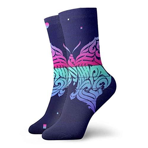 XCNGG Calcetines Mariposa. Caligrafía gótica abstracta para hombre, mujer, atlética, calcetines para hombre, cojín, calcetín de entrenamiento deportivo informal