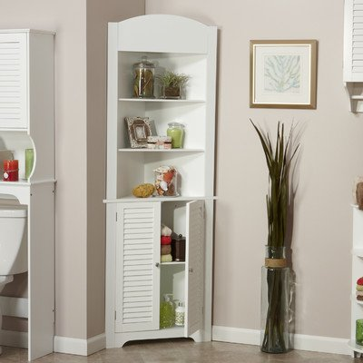 Ellsworth 23.25' x 68.31' Corner Free Standing Linen Tower- With Contemporary Style That Blends Well with Most Bathroom Decors- Has Two Open Shelves and a Closed Cabinet- White Finish