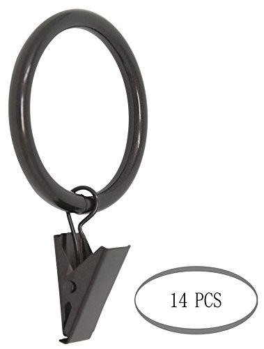 MERIVILLE Drapery Curtain Rings with Clip - 1.5-Inch Inner Diameter, Fits Up to 1 1/4-Inch Rod, Set of 14, Oil-Rubbed Bronze Finish