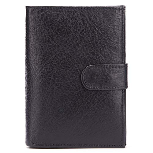 SGJFZD Echte Kuh-Leder Pass-Beutel der Männer echtes Leder-Mappen-Kartenhalter-Karten-Kasten-Leder-Portemonnaie for Männer RFID Blocking Top Layer Kuhfell Wallets Thrifold Man kühle (Color : Black)