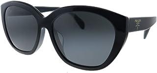 نظارة شمسية بلاستيك بيضوية من برادا PR 16XS 1AB5S0 - لون أسود وعدسات رمادية