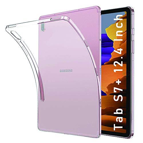 NUPO Hülle für Samsung Galaxy Tab S7 Plus 12,4 Zoll 2020, Ultra Slim Translucent Soft TPU Silikon Tablet Crystal Durchsichtige Schutzhülle Case für Galaxy Tab S7+ SM-T970/T975/T976 (Matt weiß)