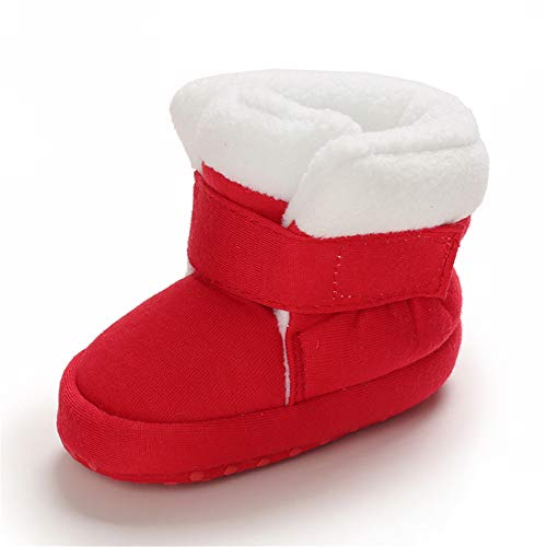 MASOCIO Baby Winterschuhe Mädchen Babyschuhe Winter Baby Boots Winterstiefel Schuhe Stiefel Rot Größe 18 0-6 Monate