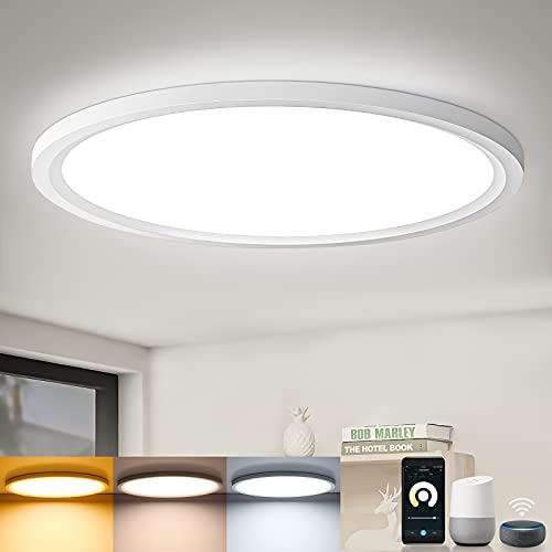 Lámpara LED de techo con WiFi, plana, regulable, panel redondo, 20 W, 2200 lm, aplicación Leoee, lámpara de 2,4 cm, ultrafina, para salón, dormitorio, oficina, compatible con Alexa y Google Assistant