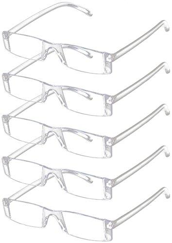 VEVESMUNDO Lesebrille 5 Stück Herren Damen Sehhilfe Transparente Gläser Brille 1.0 1.5 2.0 2.5 3.0 3.5 4.0 (5 Stück Transparente Gläser Brille, 3.0)